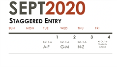 Staggered Entry Schedule for September 1 - 3, 2020